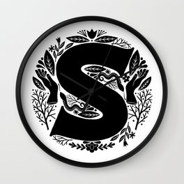 Letter S monogram wildwood Wall Clock