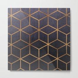 Dark Purple and Gold - Geometric Textured Gradient Cube Design Metal Print