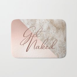 Get Naked Quote, Marble, Rose Gold Pink Bath Mat
