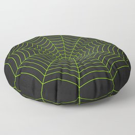 Neon green spider web Floor Pillow