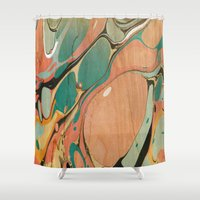 utah Shower Curtains featuring Abstract Painting ; Utah by bialy kot art