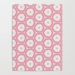 Pink white Hexagon Pattern Poster