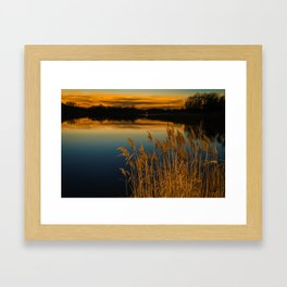 Nature Landscape Photography - Sunset at Reedy Point Pond Framed Art Print