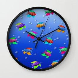 Bright Tropical Fish Wall Clock