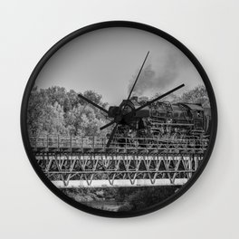 steam train on a bridge Wall Clock