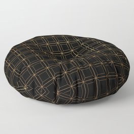 Black and Gold Octagonal Squares Geometric Floor Pillow