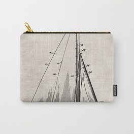 Sailboat Patent - Yacht Art - Antique Carry-All Pouch