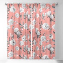 Peonies Mono Coral Sheer Curtain