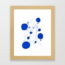 Blue Blind Contour Framed Art Print