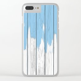 Paint blue on wood Clear iPhone Case