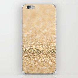 Beautiful champagne gold glitter sparkles iPhone Skin