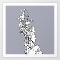 Girl With Ship Art Print