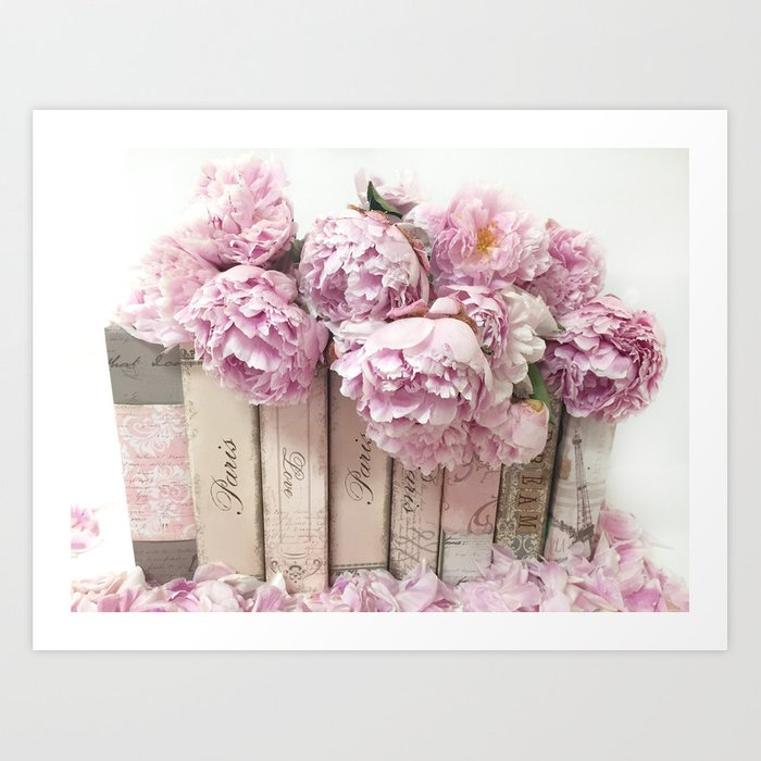 Shabby Chic Pink Peonies Paris Books Wall Art Print Home Decor Art