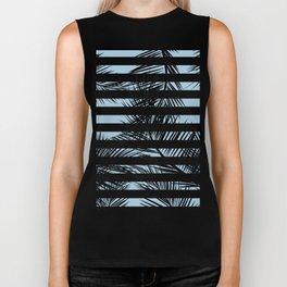 Modern black tropical palm tree leaf blue stripes pattern Biker Tank
