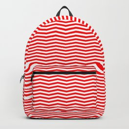 Red and White Christmas Wavy Chevron Stripes Backpack