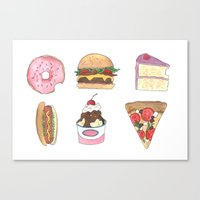 junk food Canvas Prints featuring Junk Food by allie fraley