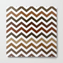 Shades of Brown Chevron Pattern Metal Print
