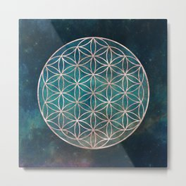Mandala Flower of Life Rose Gold Space Stars Metal Print