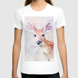 Deer Fawn Watercolour Animal Painting Artsy Watercolor Nursery Pink T-shirt