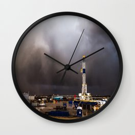Oil Rig - Storm Passes Behind Derrick in Central Oklahoma Wall Clock