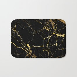 Black Gold Marble - Abstract, textured, marble pattern Bath Mat