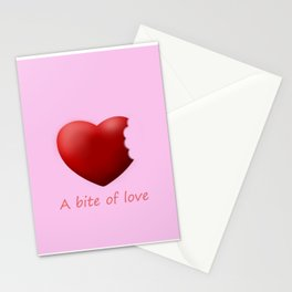 a bite of love (nibbled heart) pink Stationery Cards