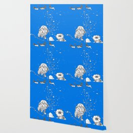 Two Tailed Duck and Jellyfish Royal Brilliant Blue Wallpaper