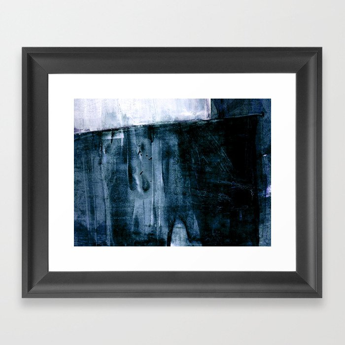 Indigo Blue And White Minimalist Abstract Painting Framed