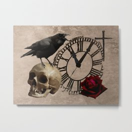 Gothic Black Crow Old Skull Red Rose Time Cross Art A553 Metal Print