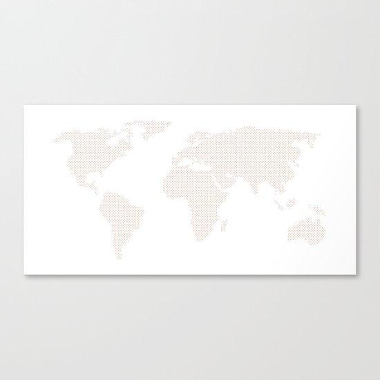 World Map Dots Rose Gold Bronze Copper Canvas Print