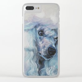 white POODLE dog art portrait from an original painting by L.A.Shepard Clear iPhone Case
