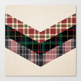 Ivory black pink marsala red geometrical chevron plaid pattern Canvas Print