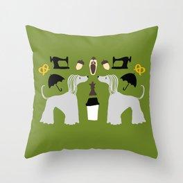 Hound dog, umbrella, sewing machine and chess Throw Pillow