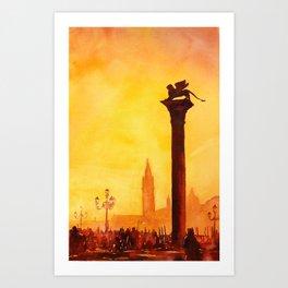 Lion of San Marco statue in Piazza di San Marco at dawn- Venice, Itay Art Print