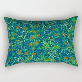 Neurons (blue and green) Rectangular Pillow