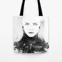 cara delevingne Tote Bags featuring Cara Delevingne by Esther