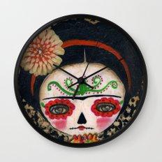 Frida The Catrina And The Skull - Dia De Los Muertos Mixed Media Art Wall Clock