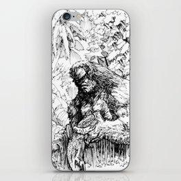 SASQUATCH EATING SALMON iPhone Skin
