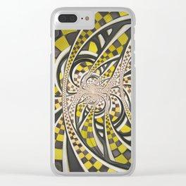 Liquid Taxi Cab, a Yellow Checkered Retro Fractal Clear iPhone Case