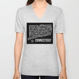 Connecticut Map Unisex V-Neck