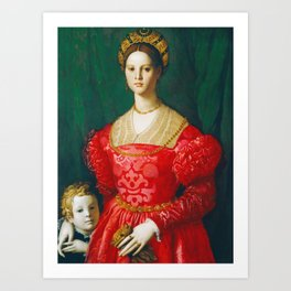 Agnolo Bronzino  -  A Young Woman And Her Little Boy Art Print