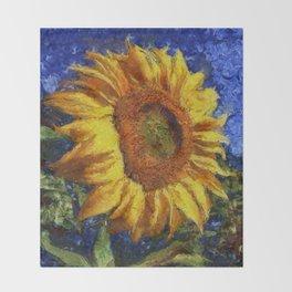 Sunflower In Van Gogh Style Throw Blanket