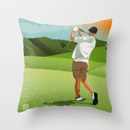 Mountain Golfer Throw Pillow