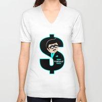 randy c V-neck T-shirts featuring Randy Fishscale by TallRob Design