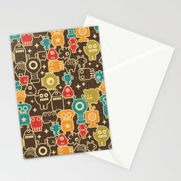 Robots on brown Stationery Cards