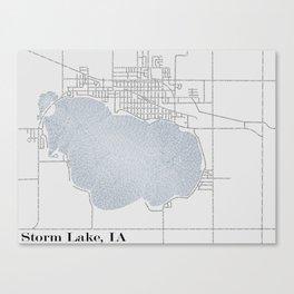 Storm Lake IA Typographical Map Canvas Print