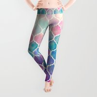 mint Leggings featuring Rainbow Pastel Watercolor Moroccan Pattern by micklyn