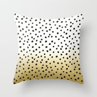 gold dots Throw Pillows featuring Dots on White&Gold by Oh Monday
