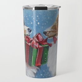 Christmas Shetland Sheepdogs dog art from an original painting by L.A.Shepard Travel Mug