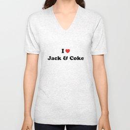 I love jack and coke Unisex V-Neck